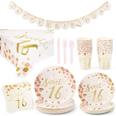 Blue Panda Sweet 16 Birthday Party Supplies and Decorations - Serves 24: Health & Personal Care