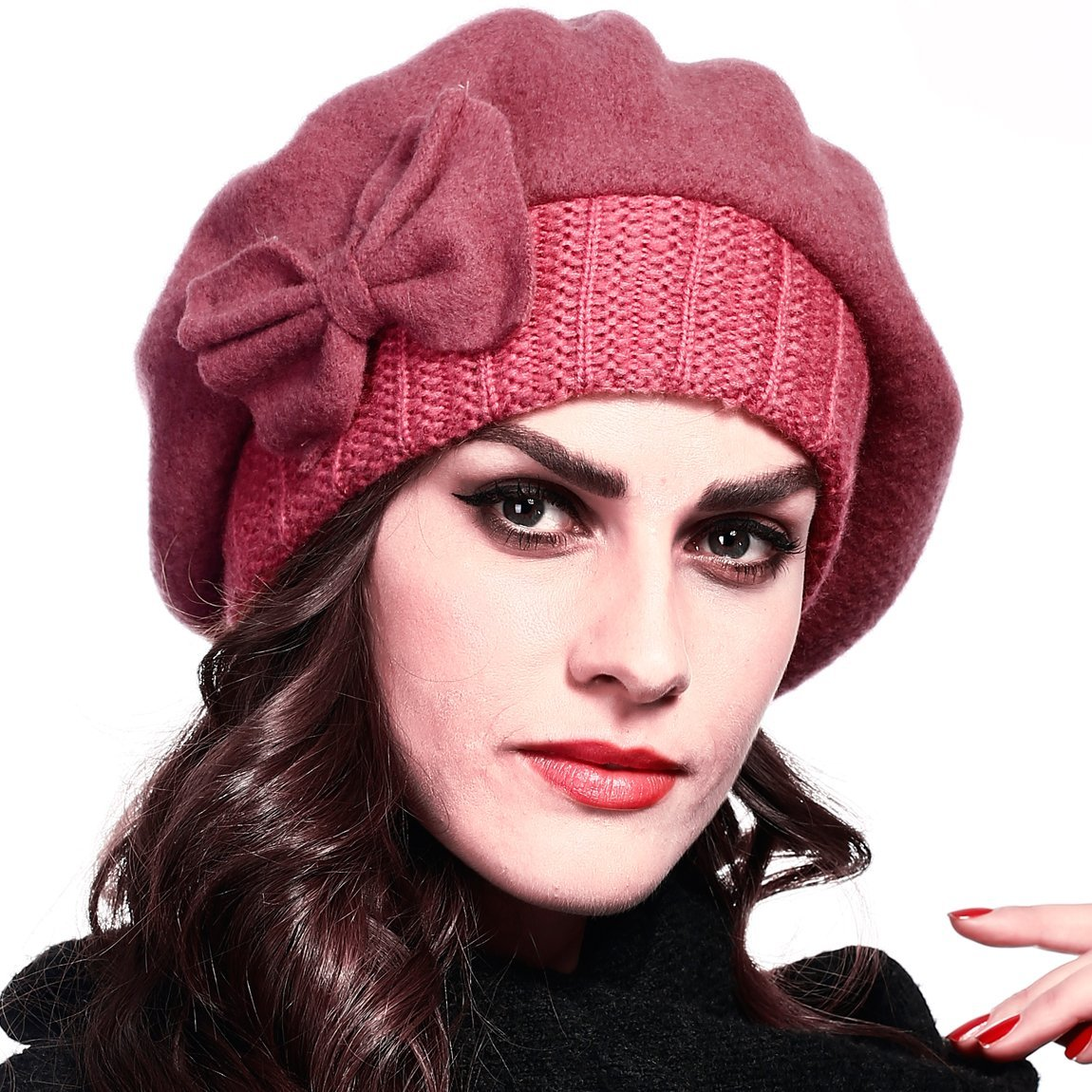 Women Wool Beret Knit Cap with Bow (Pink)
