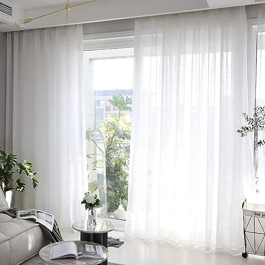 Amazon.com: Home Brilliant White Curtains Semi Sheer Curtain