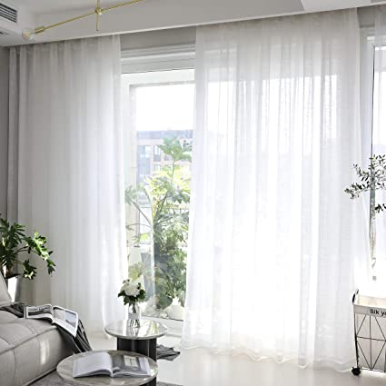 Amazon.com: HOME BRILLIANT White Curtains Semi Sheer Curtain Panels ...