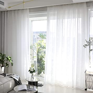 Home Brilliant White Curtains Semi Sheer Curtain Panels Linen Window  Treatment for Bedroom Living Room, 2 Panels, 54 x 72 inches