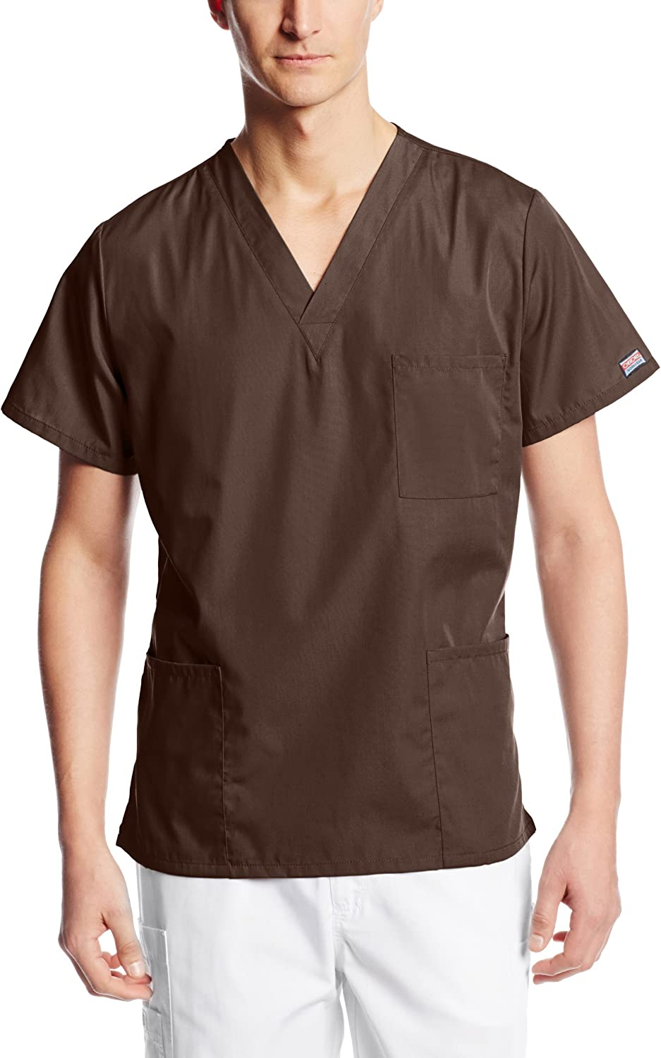Cherokee Originals Unisex V-Neck Scrubs Top, Chocolate, X-Large: Medical Scrubs Shirts: Clothing