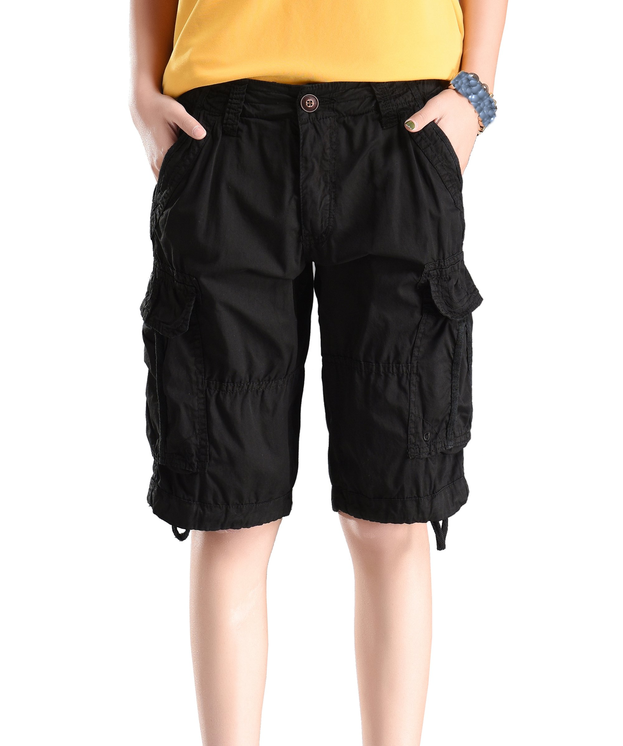 Fuwenni Women's Casual Loose Fit Relaxed Sports Active Wear Bermuda Cargo Shorts Multi Pockets Black US 12/Asia 34