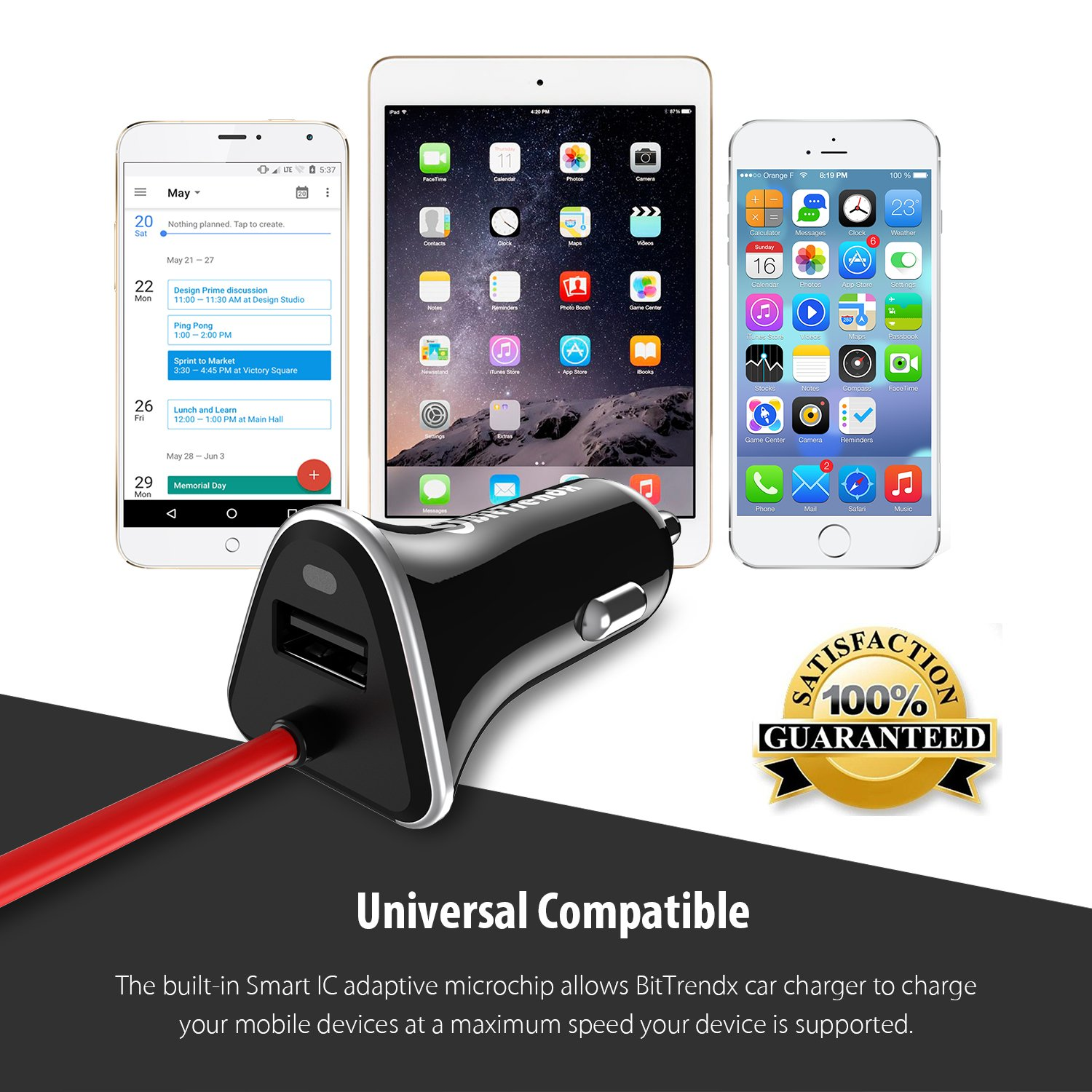 BitTrendx Black Dual Rapid Smart Phone USB Car Charger With Built in Smart Cable Compatible With iPhone Xs Max XR X 8 Plus 7 Plus 6S Plus Se 6 Plus 5 5S 5c iPad Pro Air Mini 2 3 4 and Extra USB RCF-R44C-2.4A
