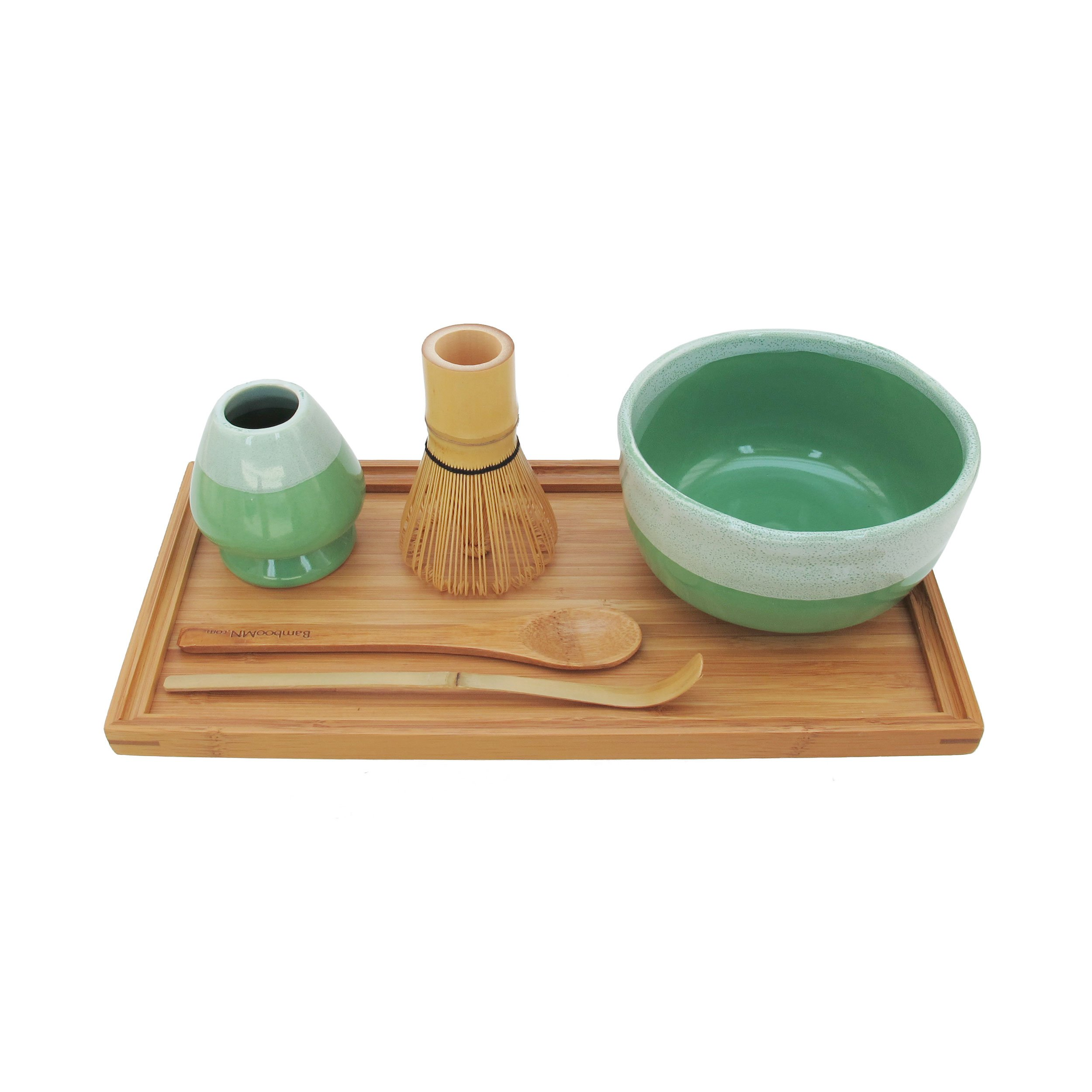 BambooMN Brand - Matcha Bowl Set (Includes Bowl, Rest,Tea Whisk, Chasaku, Tea Spoon & Tray) 10 Sets Mint Green by BambooMN (Image #2)