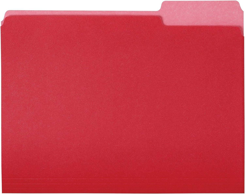 AmazonBasics File Folders, Letter Size, 1/3 Cut Tab, Red, 36-Pack