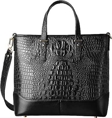 PIFUREN Crocodile Leather Handbags for Women Top Handle Satchel Purse Ladies Work Tote Bag Large