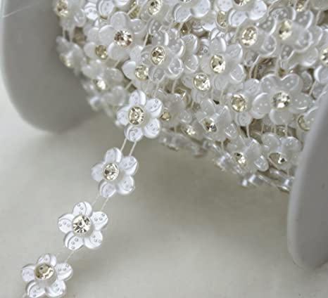 1 Yard Faux Pearl Crystal Rhinestone Beaded Trims Trimming Chain Sewing Craft