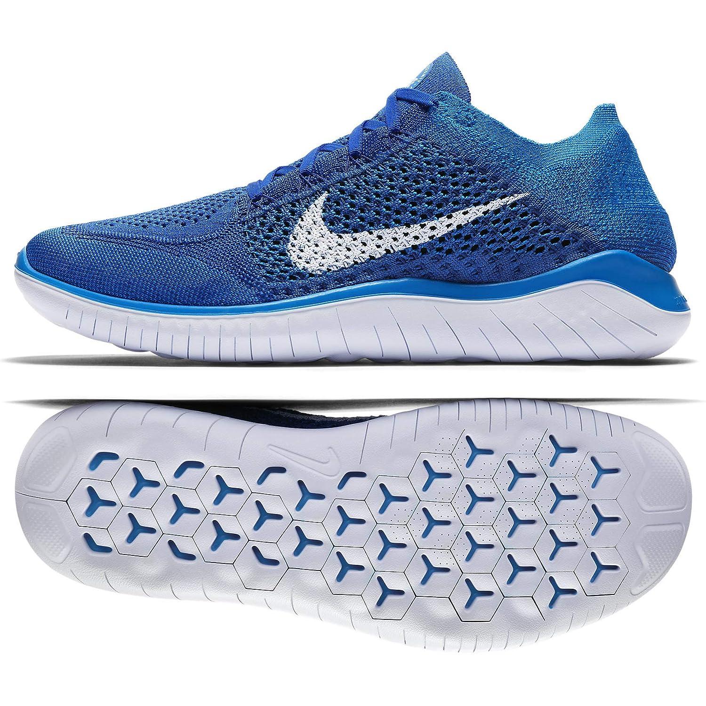 Nike Laufschuh Free Run Flyknit 2018, Hausschuhe de Running para Hombre Game Royal Weiß Photo Blau