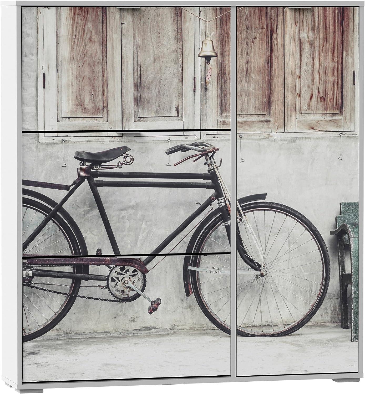Armario zapatero con 3 compartimentos abatibles y una puerta lateral serigrafía bicicleta 120x129cm: Amazon.es: Hogar
