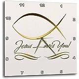 6 by 6-Inch 3dRose dc/_36101/_1 Elegant Letter W Embossed in Gold Frame Over a Black Fleur-De-Lis Pattern on a Gold Background-Desk Clock