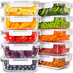 Prep Naturals Glass Food Storage Containers with Lids [24 Ounce, 20Pcs] Glass Containers for Food Storage with Lids Glass Meal Prep Containers Glass Storage Containers with Lids Glass Lunch Containers