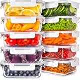 Prep Naturals Glass Food Storage Containers with Lids [24 Ounce, 20Pcs] Glass Containers for Food Storage with Lids Glass Mea