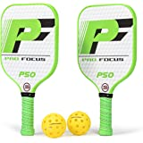 Pro Focus Cross Court Pickleball Paddle Set - 2 Fiberglass Composite Pickleball Paddles and 4 Pickleballs; Outdoor and Indoor