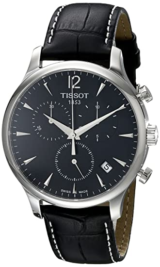 Tissot T0636171605700 - Reloj cronógrafo de caballero de cuarzo con correa de piel negra