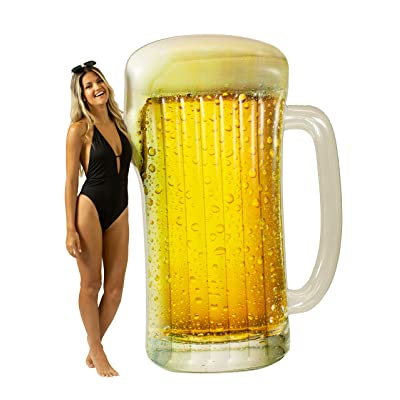 "Poolcandy Giant Beach & Pool Inflatable Beer Mug Raft for The Perfect Pool or Beach Party. This Float Measures 72.5"" x 52"" x 5"" Perfect for Any Occasion on The Water.: Toys & Games"