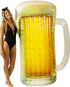 """Poolcandy Giant Beach & Pool Inflatable Beer Mug Raft for The Perfect Pool or Beach Party. This Float Measures 72.5"""" x 52"""" x 5"""" Perfect for Any Occasion on The Water."""