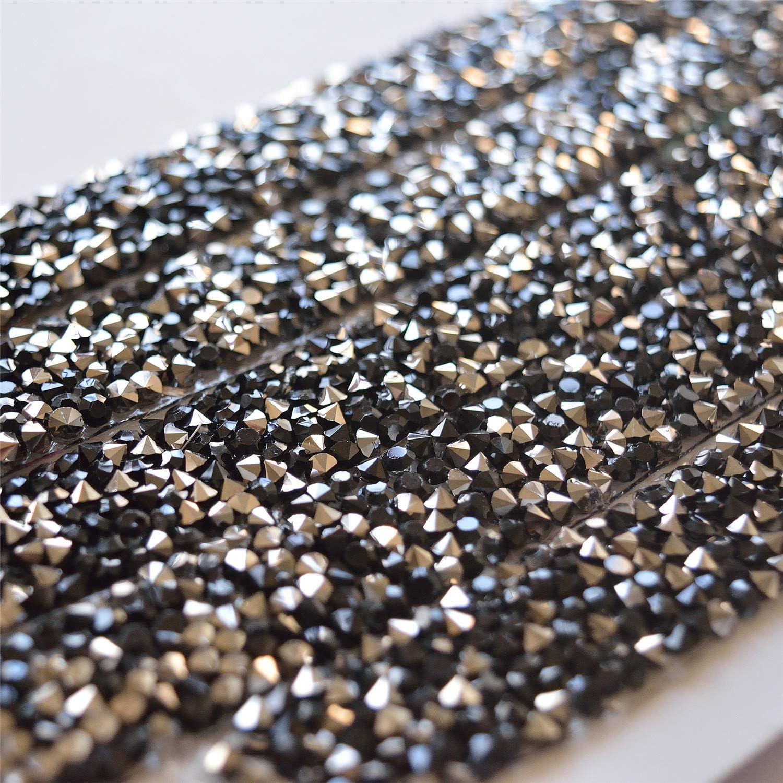Bene Omnia 2 Yard Rhinestone Sash Trim Diamante Stone Applique Crystal Bridal Lace Trimming Iron on Edge Tape for Craft Sewing DIY Decor 1.5cm Black