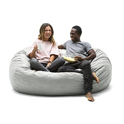 Big Joe 0000658 Fuf Foam Filled Bean Bag Chair, XL, Fog Lenox