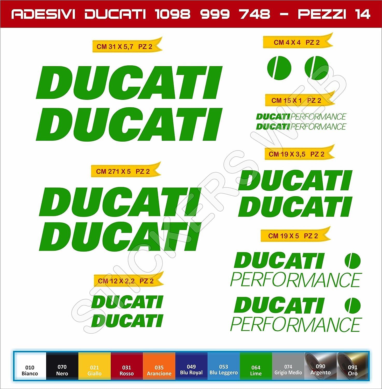 Scegli Colore Moto Motorbike cod.0139 Kit 14 Pezzi Pimastickerslab Adesivi Stickers Ducati Performance 748 848 999 1098 ECC