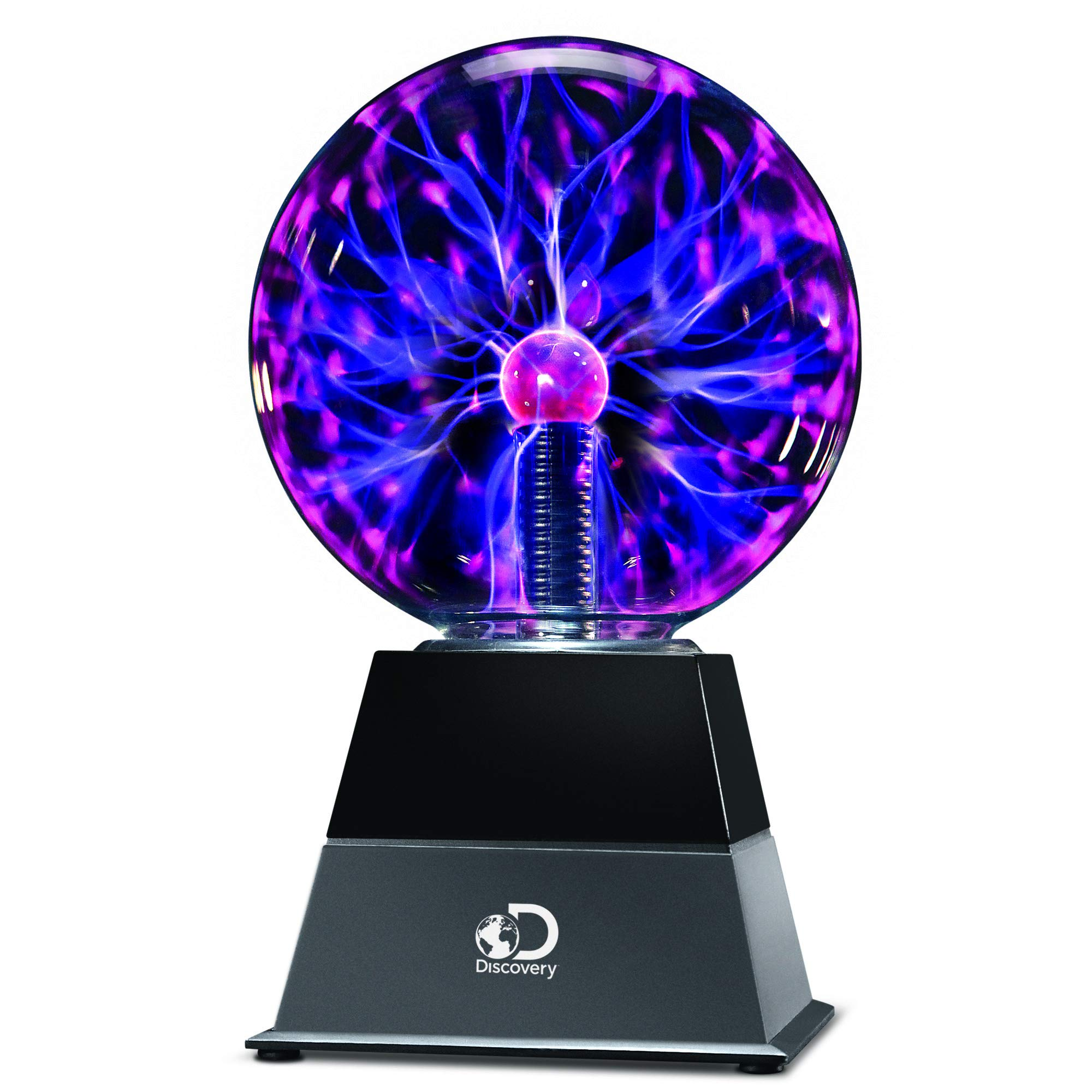 DISCOVERY KIDS 6'' Plasma Globe Lamp with Interactive Electronic Touch and Sound Sensitive Lightning and Tesla Coil, Includes AC Adapter, STEM Lava Lamp Style Light for Desk, Kids Room, and More