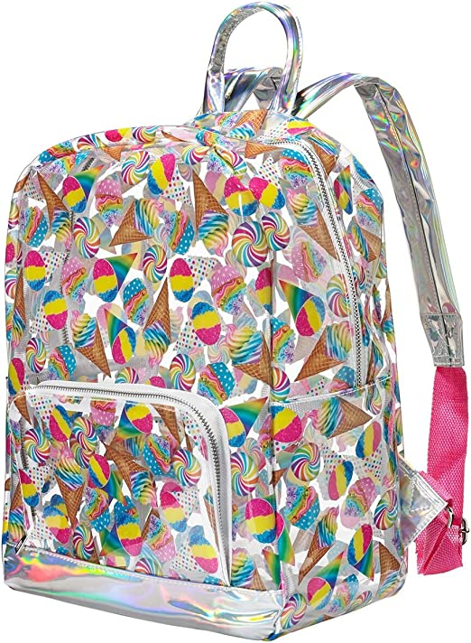 """Clear Unicorn Doodles 16/"""" Backpack School Book Bag Tote Full Size see through"""