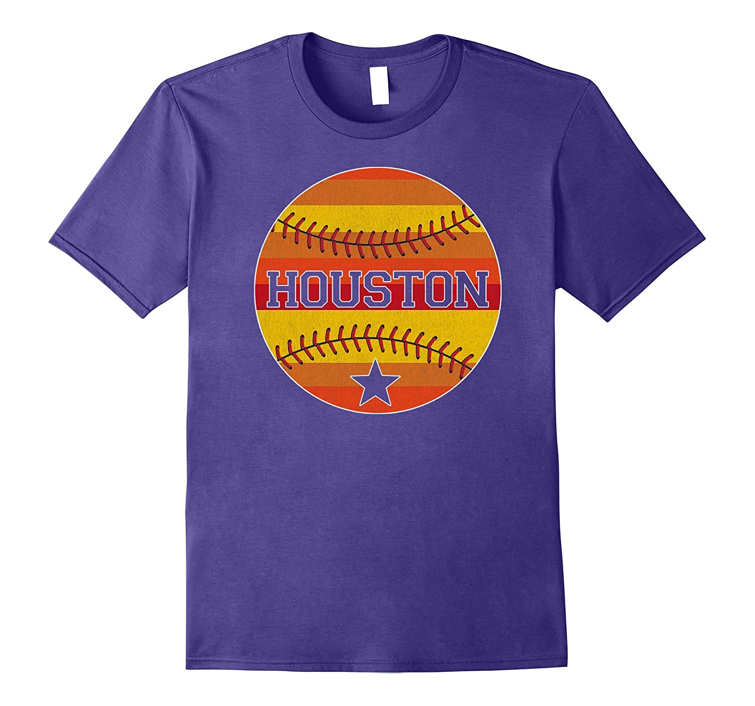 Retro Vintage Houston Baseball Throwback Astro Stripe Shirt-T-Shirt