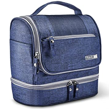 928494ba72 Amazon.com  Toiletry Bag Hanging Travel Toiletry Organizer Kit with Hook  and Handle Waterproof Cosmetic Bag Dop Kit for Men or Women (Navy Blue)   Clothing
