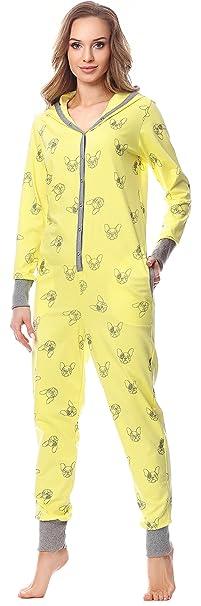 Merry Style Pijama 1 Pieza con Capucha Ropa de Cama Mujer MSLL1005(Amarillo/Perro