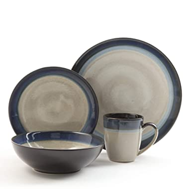 Gibson Elite 91547.16RM Couture Bands 16-Piece Dinnerware Set, Blue and Cream