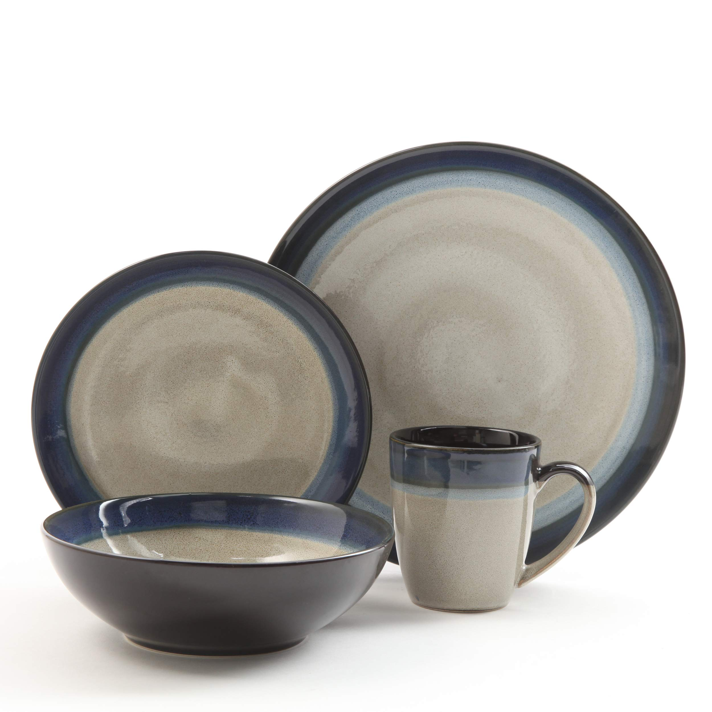 Gibson Elite 91547.16RM Couture Bands 16-Piece Dinnerware Set, Blue and Cream by Gibson (Image #1)