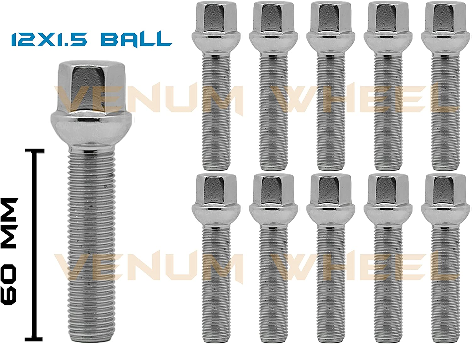 20 Pieces Extended Black Lug Bolts Total Length 57mm Shank Length 33mm Thread Size M12x1.5 Ball Seat Type 17mm Head Hex for Aftermarket rims wheels