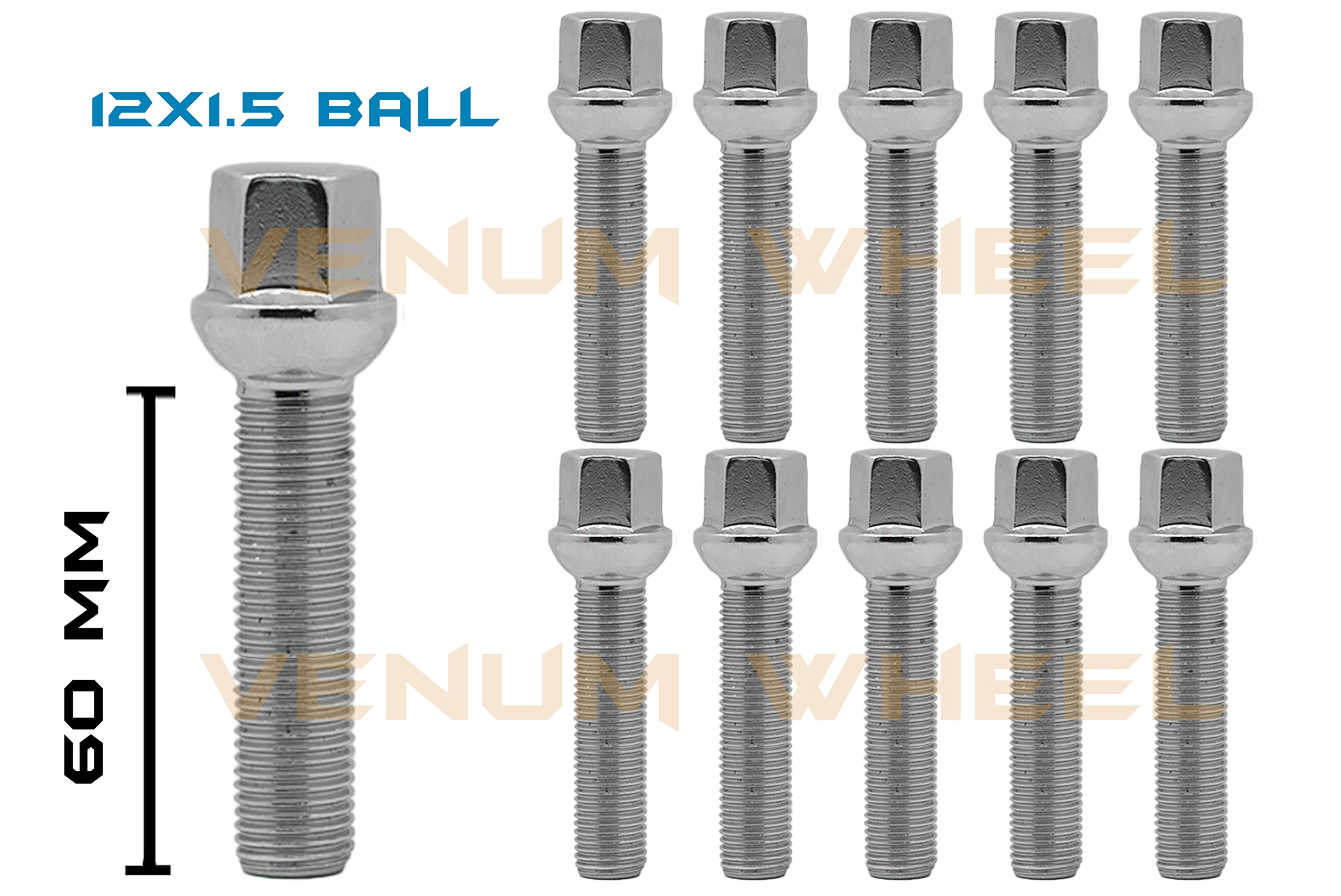 10 Pc Chrome 12x1.5 Ball Seat Lug Bolts 60mm Shank Extended Length 17mm Hex Fits Mercedes Benz
