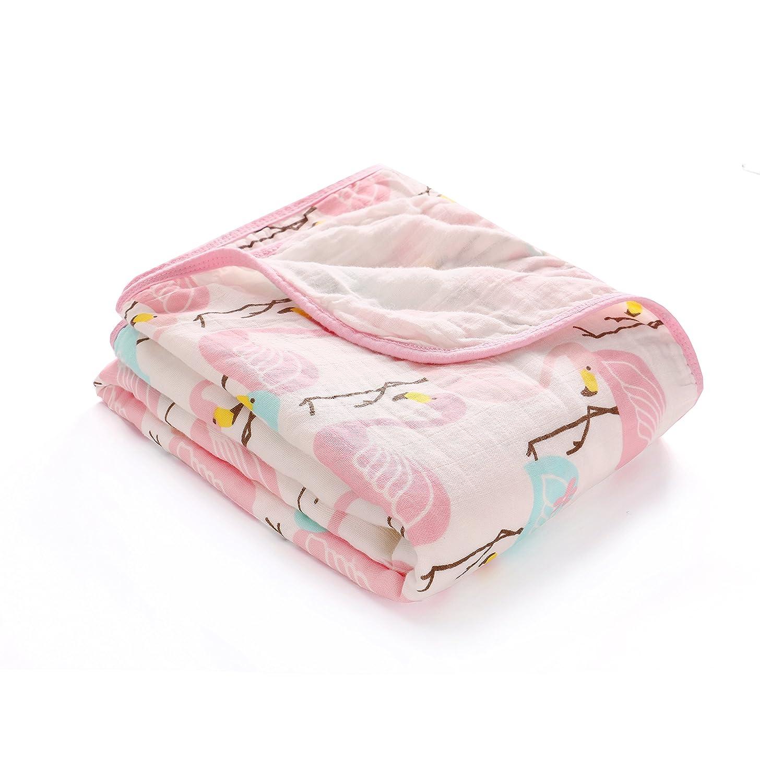 100% Musselin Baumwolle Decke Doppelte Schichten Baby Jungen und Mädchen Swaddle & Receiving blanket-unisex Große 120x150 cm, Dick Warme Babydecke Pucktuch Packungen für Neugeborene, Flamingo CP2191454