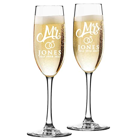 Mr And Mrs Wine Toasting Champagne Flutes Glasses