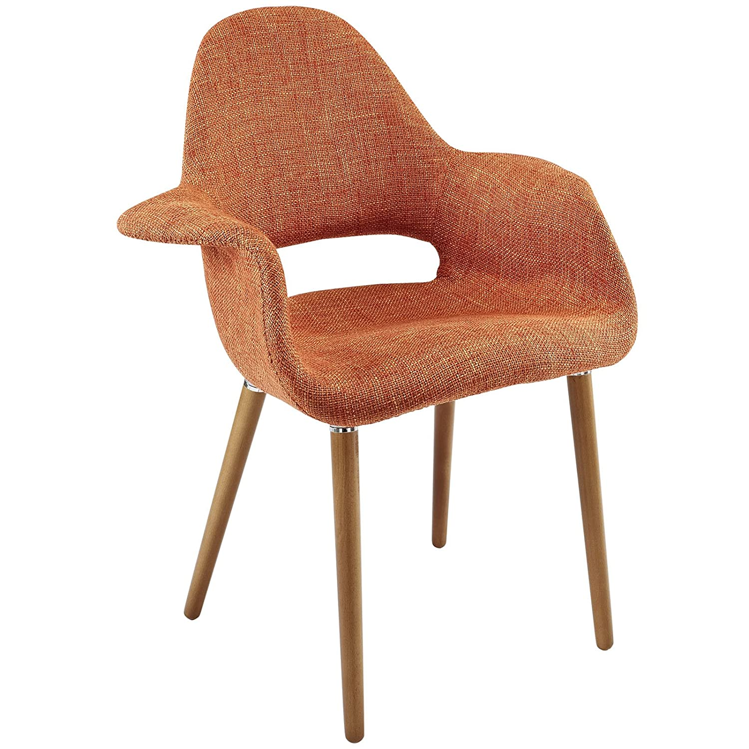 Modway Aegis Mid-Century Modern Upholstered Fabric Organic Dining Armchair With Wood Legs In Orange