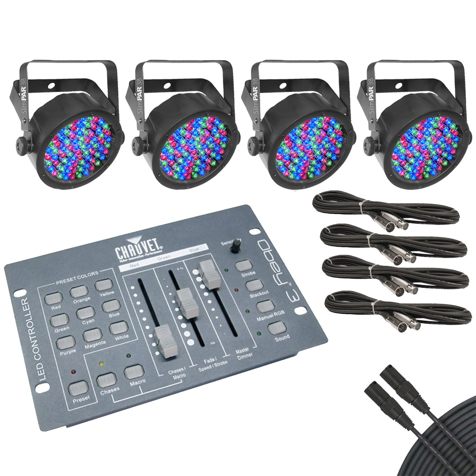 Chauvet SlimPAR 38 4-Pack w/ Chauvet Obey 3 DMX Lighting Controller and Cables