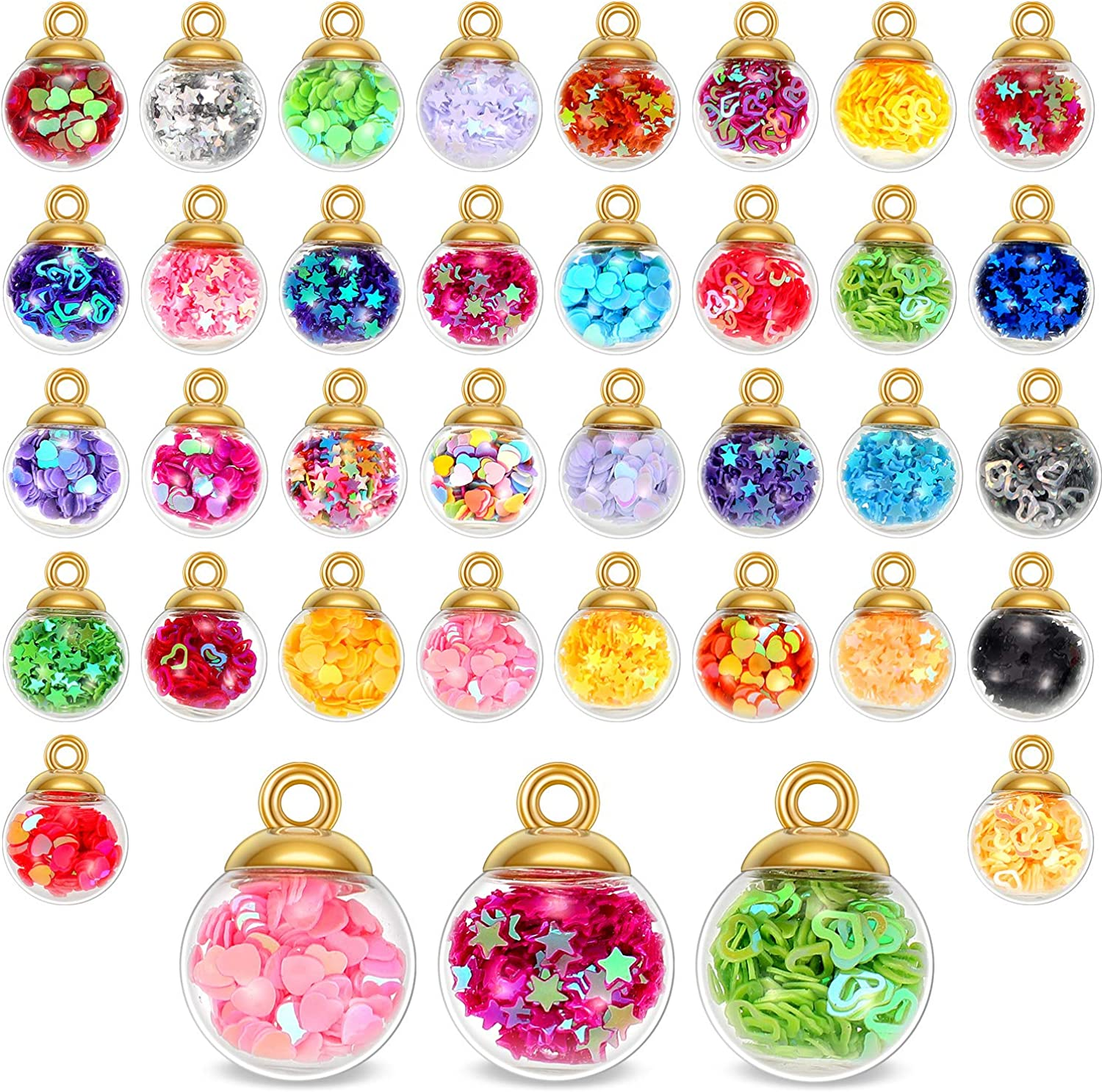 68 Pieces 16 mm Colorful Glass Ball Charms Crystal Glass Ball Pendants Jewelry Making Supplies with Shining Stars, Heart-shaped sequins and Peach Heart Sequins for DIY Necklace Bracelet Crafts
