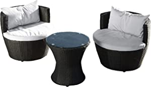 Christopher Knight Home Kono Chat Set, 3-Pcs Set, Black