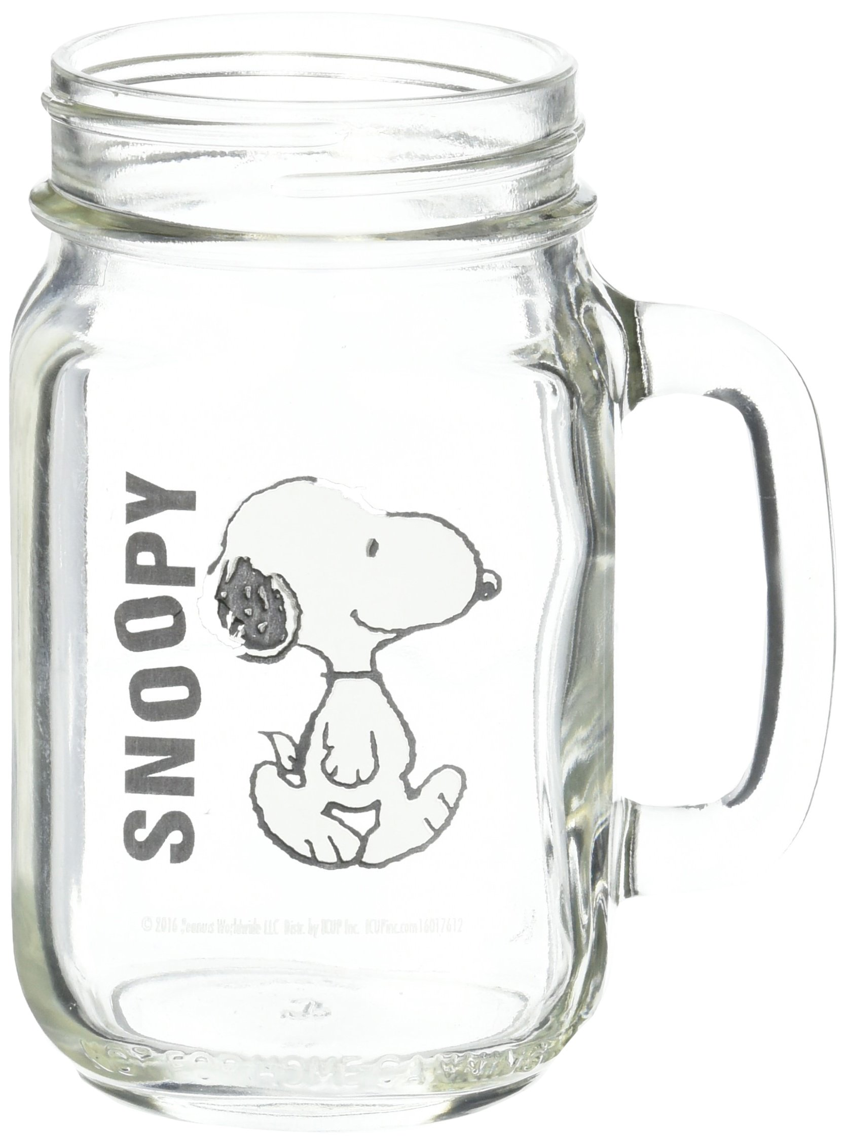 ICUP Peanuts Snoopy Walking Handled Glass Mason Jar, Clear by ICUP (Image #1)