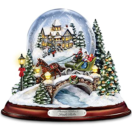 Christmas Snowglobes.Thomas Kinkade Jingle Bells Illuminated Musical Christmas
