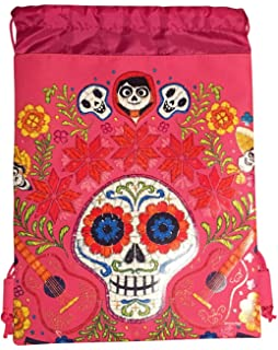 Disney COCO Drawstring Backpack PIXAR Licensed Sling Tote Gym Bag (Pink Skull Bone)