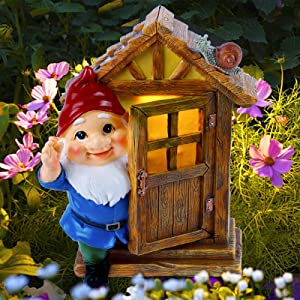 Juegoal Garden Gnome Statues, Tree Sculpture Solar Powered LED Lights Resin Gnome Elf Figurine Open The Door, Lighted Garden Art Outdoor Spring Decorations for Patio Yard Lawn Porch, Ornament Gift