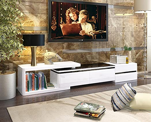 High Quality OSPI White U0026 Black Piano Paint High Gloss Extendable TV Cabinet / TV Stands  Living Room Part 28