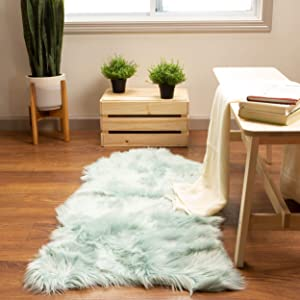 Super Area Rugs Soft Faux Sheepskin Fur Fluffy Area Rug, Teal, 2' x 4' Sheepskin