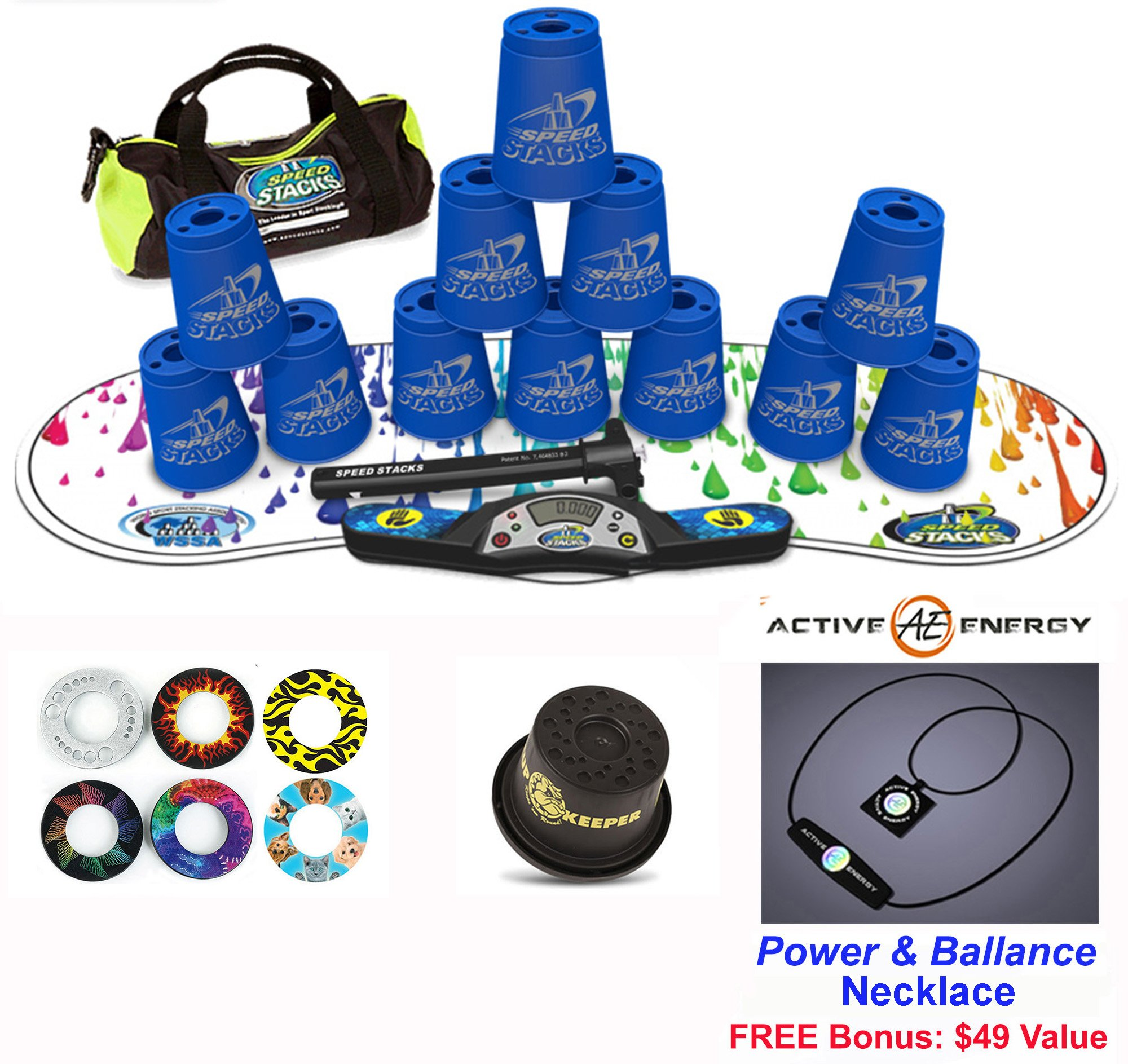 Speed Stacks Combo Set ''The Works'': 12 BLUE 4'' Cups, RAINBOW DROP Gen 3 Mat, G4 Pro Timer, Cup Keeper, Stem, Gear Bag + Active Energy Necklace