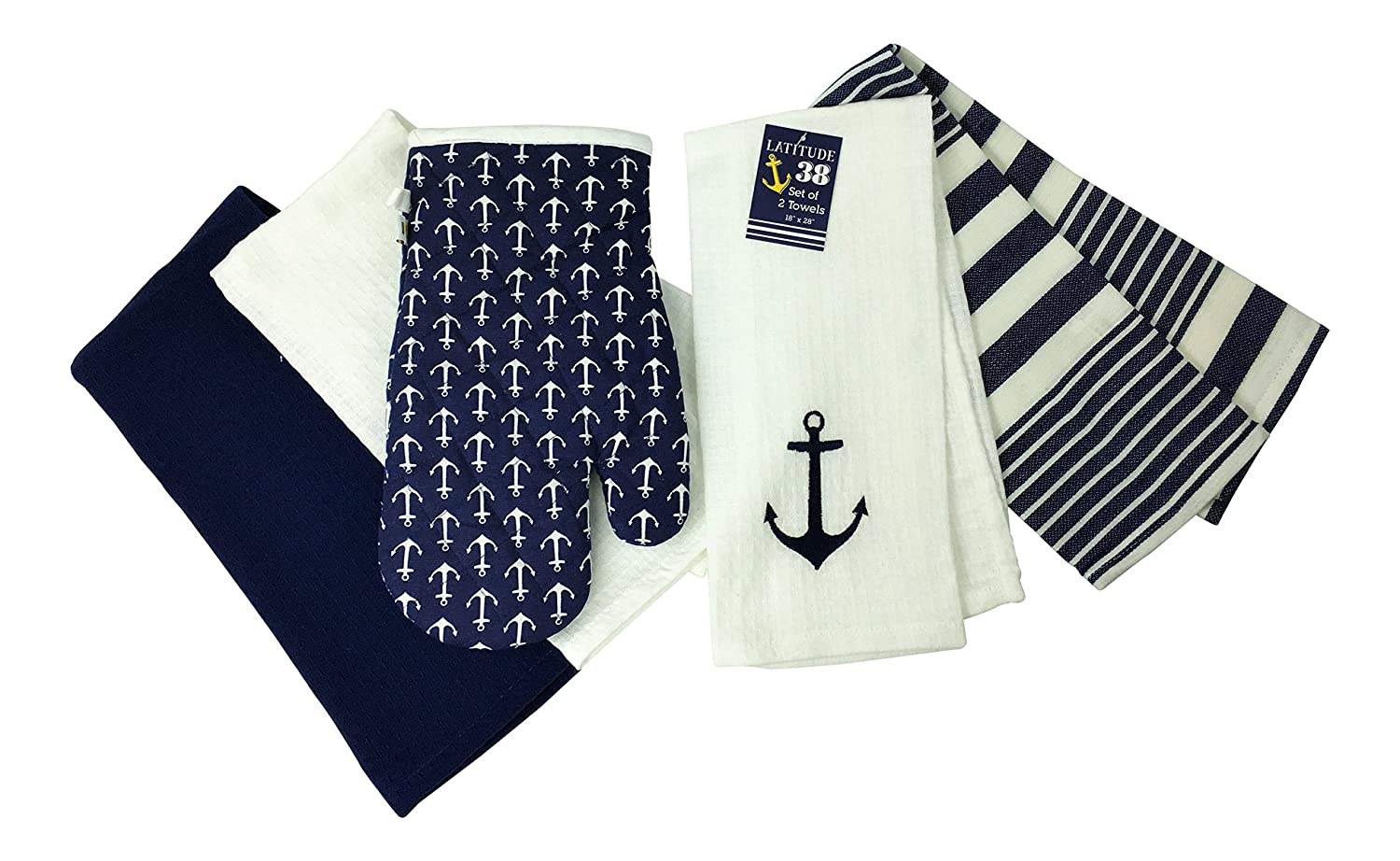 Nautical Anchor Embroidered Dish Towel and Oven Mitt, Set of 5 (Navy)