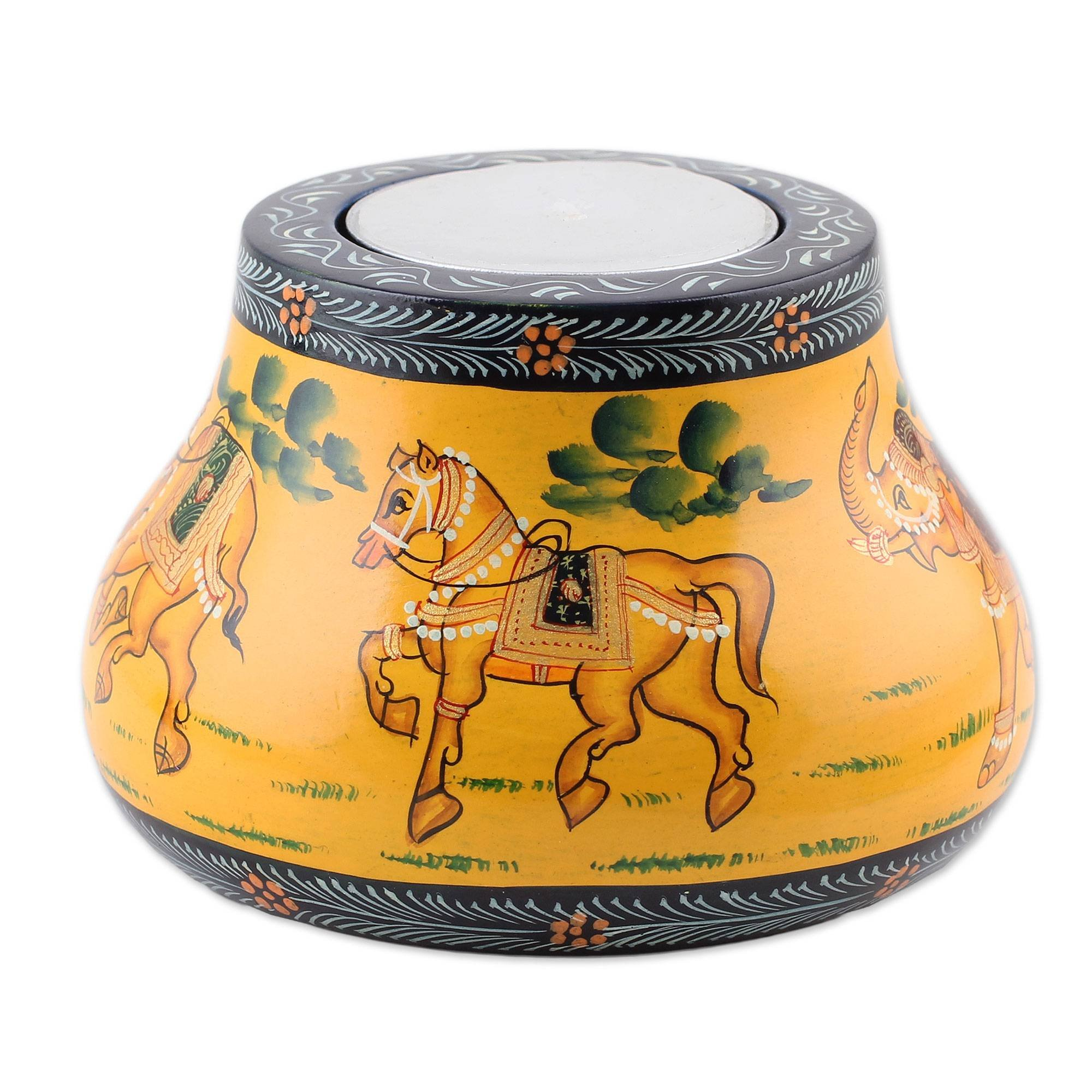 NOVICA Animal Themed Wood Candle Holder, Yellow 'Animal Journey in Yellow'