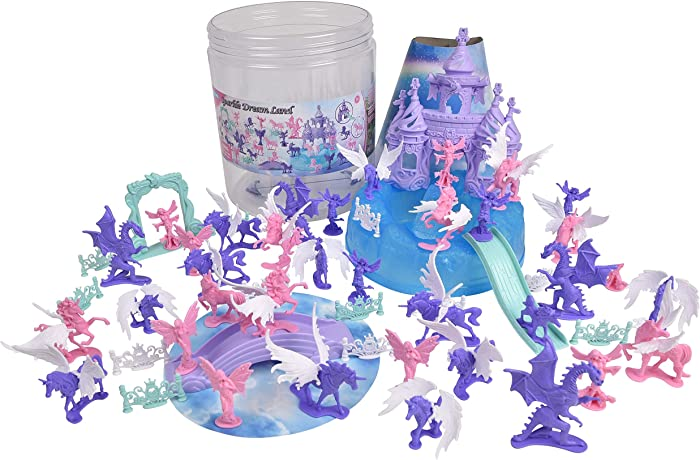 Sunny Days Entertainment Unicorn Dream Land Bucket – 71 Assorted Unicorns Fairies and Dragon Toy Play Set For Girls | Plastic Magic Sparkle Figures with Storage Container (005085)