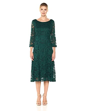 Ronni Nicole Women S 3 4 Sleeve Fit And Flare Lace Dress
